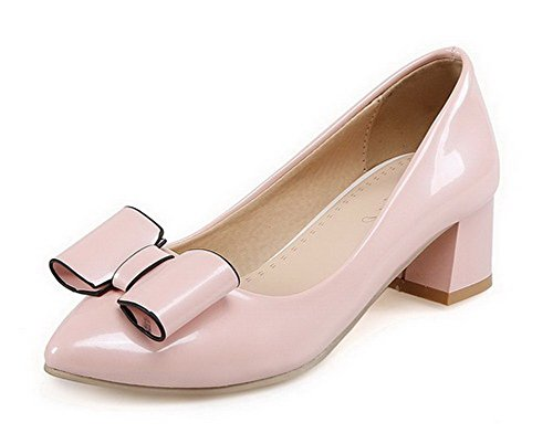 VogueZone009 Women's Solid PU Kitten-Heels Pointed Closed Toe Pull-On Pumps-Shoes Pink