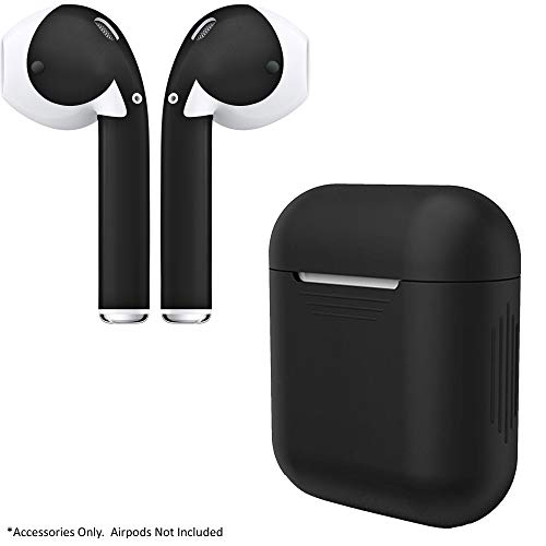 AirPod Charging Protective Case Silicone Cover and Stylish Protective Skins Bundle (Black Case & Matte Black Skin)
