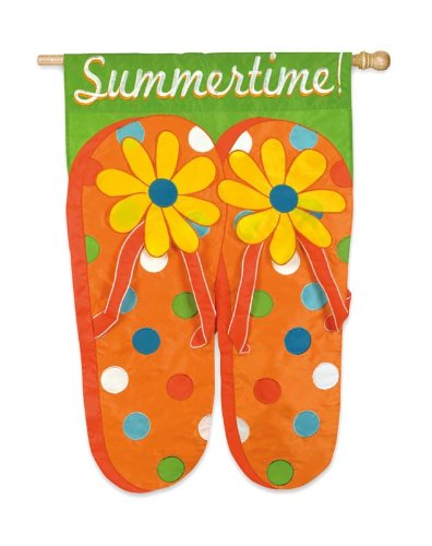 Summertime Flip Flops Applique House Flag - Double Sided