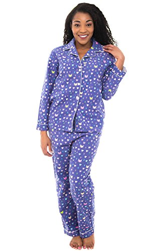Set Heart Lounge (Alexander Del Rossa Womens Flannel Pajamas, Long Cotton Pj Set, XL Kitty Cats and Hearts (A0509Q75XL))