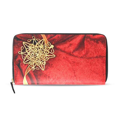 Women Wallet Purse Wedding Invitation Card Red Background Clutch Bag Zipper Leather