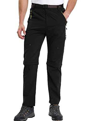 Men's Outdoor Water-Resistant Lightweight Zip Off Quick Dry Hiking Convertible Military Cargo Pants #M1111/Black/US 32 (Waterproof Pants Hiking)