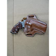 "Colt Python Revolver 4"" Barrel Leather 2 Slot Pancake Belt Holster TAN CCW RH"