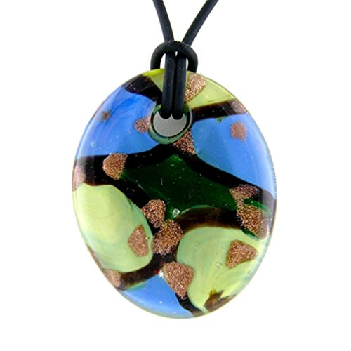 Joyful Creations Blue Murano-style Glass Oval Pendant Rubber Cord Necklace, (Oval Murano Glass Pendant)