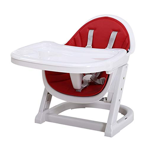ZfgG Baby Booster Seat for Dining, Child Feeding Chair Detachable Tray Harness Adjustable Home Kids Safety Plastic Highchair (Color : Red)