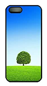iPhone 5 5S Case A Tree Blue Sky And White Clouds PC Custom iPhone 5 5S Case Cover Black