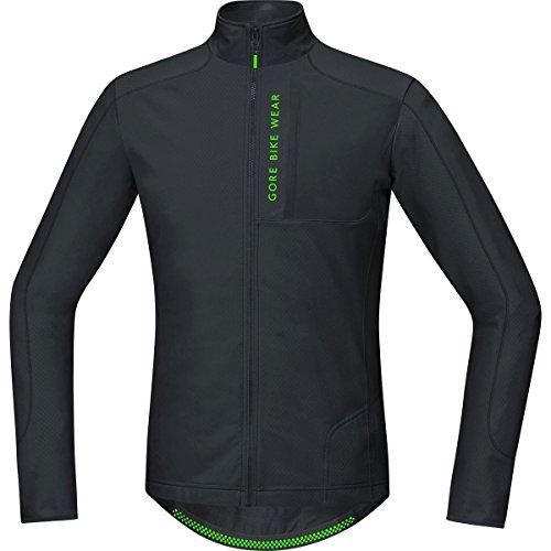 (Gore Bike WEAR Men's Mountain Bike Jersey Long Sleeves, Asymmetrical, Gore Selected Fabrics, Power Trail Thermo Jersey, Size S, Black, STPOWT)