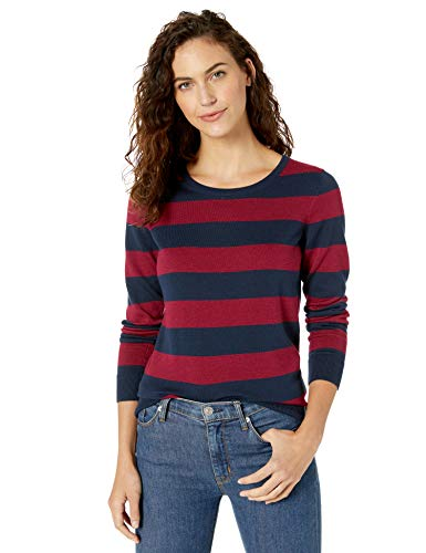 Amazon Essentials Women's Standard Lightweight Crewneck Sweater, Navy/Burgundy Stripe, X-Small