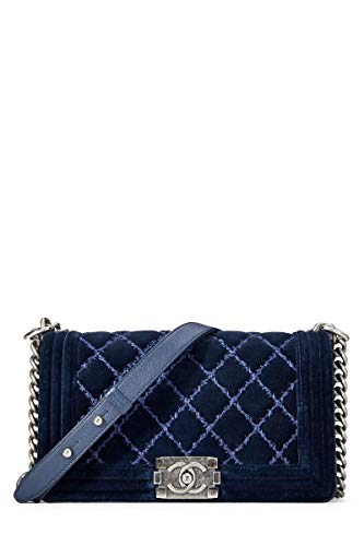 28e69f363b5f CHANEL Paris-Dallas Blue Quilted Velvet Boy Medium for sale Delivered  anywhere in USA