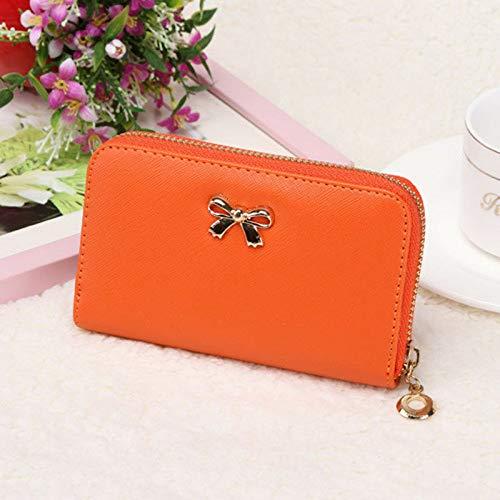 2015 Women Korean Cute Bowknot Purse Solid Wearable Short Wallet Handbag VFORU (Color - Orange) (2015 Agenda Cute)