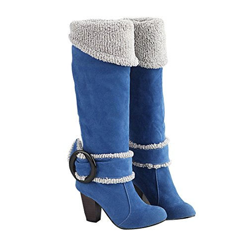 Sexy Fur Boots - Big Size 4-10.5 Block High Heels Knee High Winter Shoes for Women Sexy Warm Fur Buckle Blue Snow Boots 10 B(M)US