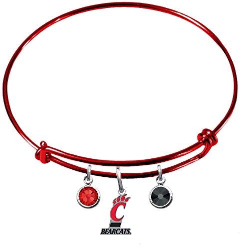 (Cincinnati Bearcats RED Expandable Wire Charm Bracelet Bangle w/ Team Color Crystals)