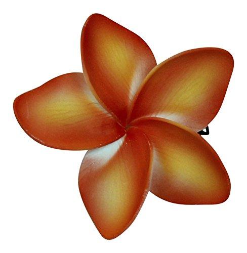 Hawaii Luau Party Dance Artificial Foam Plumeria Hair Clip in Orange Flame ()