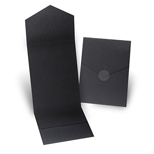 Fine Impressions 5.25'' x 7.3'' Pocket Folders, Black, 200 Count (RRJ5314) by Fine Impressions
