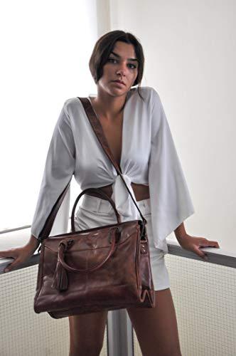Zerimar läderväskor för kvinnor | axelväska för kvinnor | duffelväska läder | äkta läderväskor för kvinnor | vintage axelväskor för kvinnor | Storlek: 70 x 35 x 17 cm