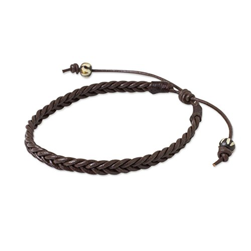 NOVICA Braided Leather Adjustable Men's Bracelet with Bone Beads, 7.5