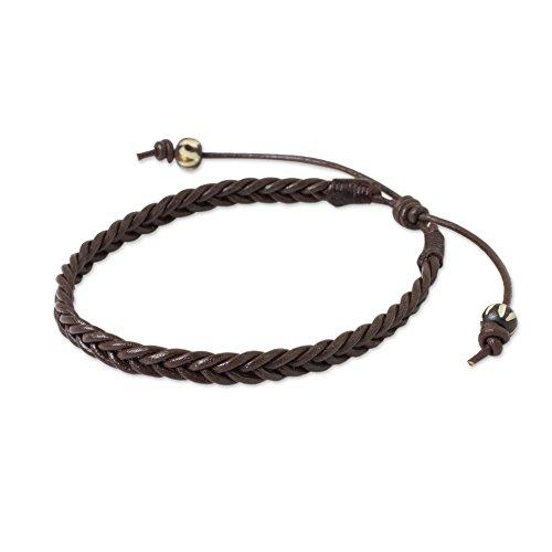 - NOVICA Braided Leather Adjustable Men's Bracelet with Bone Beads, 7.5