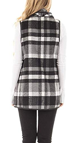 TTYLLMAO Cardigan Sleeveless Womens Pocket 5 Jackets Outerwear with Wool Lapel Plaid FwFrqU