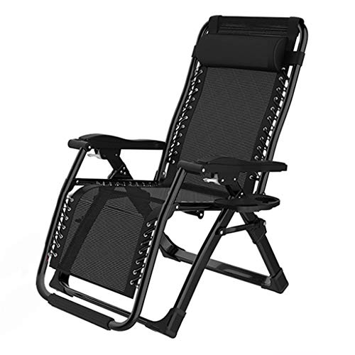 Folding Recliners Folding Recliner Lounge Reclining Casual Lazy Oblique Chair Multi-Angle Adjustment with Cup Holder Indoor Outdoor Bearing Weight 200 Kg Black ()