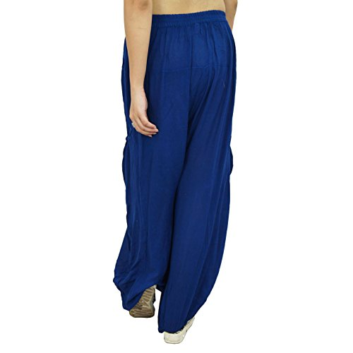 Pantalones Harem pijama flojo pantalones de yoga pantalones de entrenamiento Hipste sólido de impresión pijamas gitanas Bleu marin