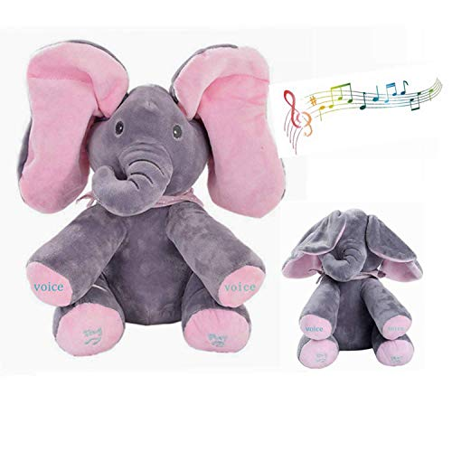 MLSH Floppy The Peek A Boo Elephant, Interactive Plush Toy Sings Plays Peek-A-Boo Animal Doll Plush Stuffed Toys for Infants, The Best Gift for Toddler Birthdays Adjustable Volume