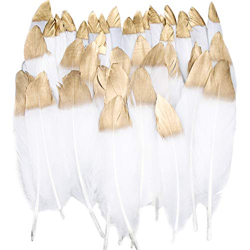 Benvo 40 Pcs Gold Dipped White Feathers 6-8 Inch Natural Feathers for Any Crafts Projects Feather Garlands Boho Bohemian Décor Nursery Home Bedroom Wall Decorations Party and Dream Catcher Supplies -