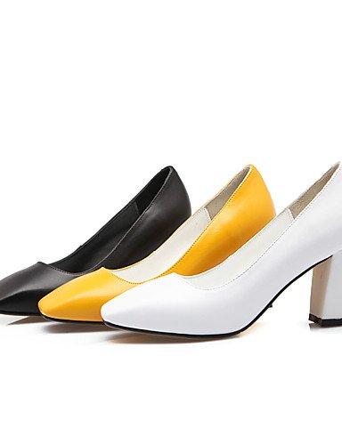 GGX/Damen-Schuhe Rindsleder Sommer/Herbst Heels/Square Toe Heels Office & Karriere/Casual geschoben Ferse andere schwarz/gelb/weiß black-us5 / eu35 / uk3 / cn34