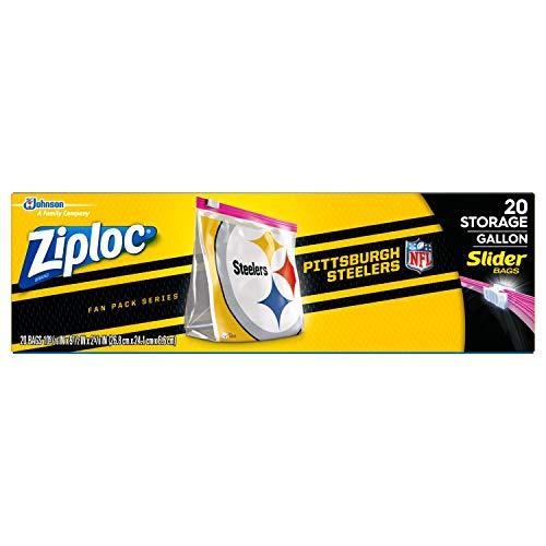 Ziploc Brand NFL Pittsburgh Steelers Slider Gallon, 20 -