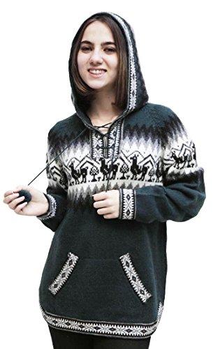 Alpaca Wool Womens Sweaters (Women's Hooded Alpaca Wool Knitted Hoodie Sweater Llamas Ethnic Design (XL,)