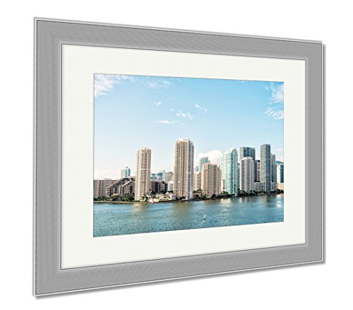 Ashley Framed Prints Miami Seascape With Skyscrapers In Bayside Downtown, Wall Art Home Decoration, Color, 30x35 (frame size), Silver Frame, - Miami At Shops Bayside