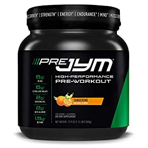 Pre JYM Pre Workout Powder – BCAAs, Creatine HCI, Citrulline Malate, Beta-Alanine, Betaine, and More | JYM Supplement Science | Tangerine Flavor, 20 Servings