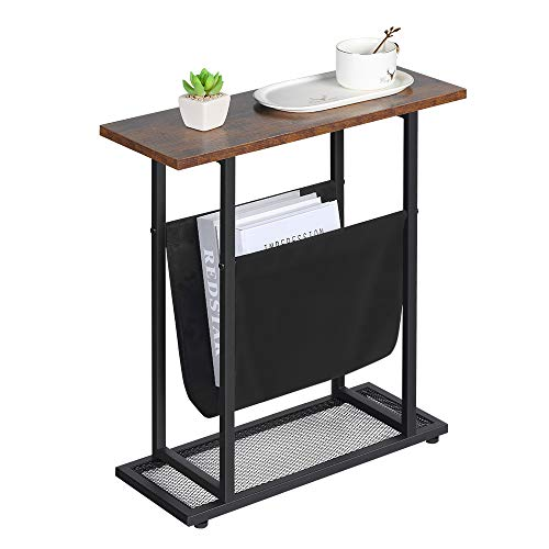 Dulcii Vintage Narrow End Table with Fabric Magazine Holder Sling, Modern Industrial Side Table or Sofa End Table, 21.7…
