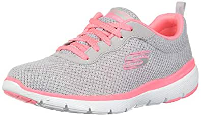 Skechers Australia Flex Appeal 3.0 First in Sight Women's Training Shoe, Light Grey/Hot Pink, 6 US
