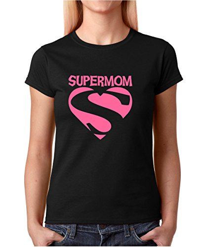 Breast Cancer Maternity T-shirt - CBTWear Super Mom - Breast Cancer Awareness - Mothers Day Apparel Gift Premium Women's T-Shirt (X-Large, Black)