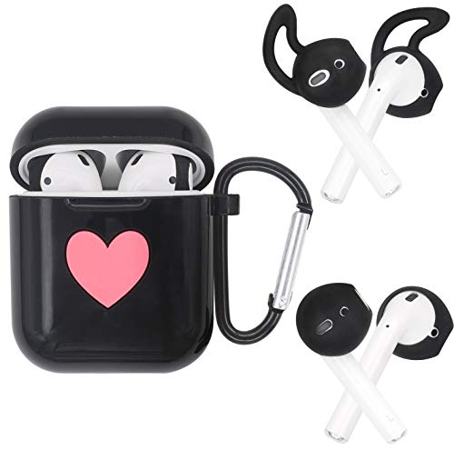 JNSA Silicone Soft Cover Case for AirPods with AirPods Earbuds Tips Ear Hook 2 Style & Belt Clip, AirPods Cover AirPods Skin AirPod Case Accessories Kits Set,Glossy Black