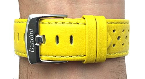 24mm Yellow Vented Racer Genuine Leather Watch Strap Band, with Stainless Steel Buckle, NEW!