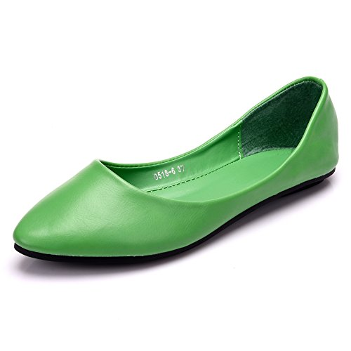 MAIERNISI JESSI Women's Pointed Toe Ballet Flat Cute Casual Comfort Shoes Green 39 - US 8 -