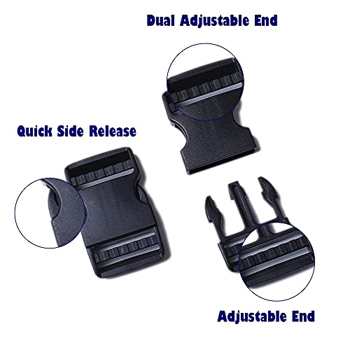 AXEN 4PCS Plastic Buckle, Dual Adjustable Side Quick Release Buckle for Bracelets Backpack Tactical Bag and Gear (25mm/1in)