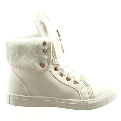 Sopily - damen Mode Schuhe Sneaker Hohe Reißverschluss - Weiß