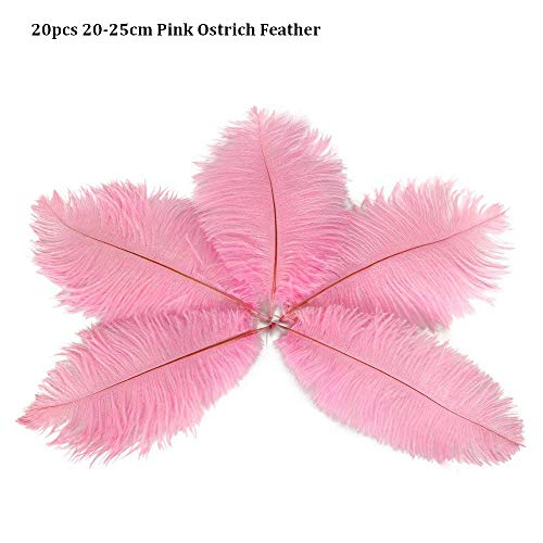 VideoPUP 20pcs Pink Ostrich Feathers Pink Feathers 20-25cm