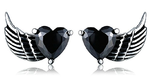 - Beydodo Stainless Steel Men Women Stud Earrings, Lovers Heart Wing, Black CZ, 1 Pair
