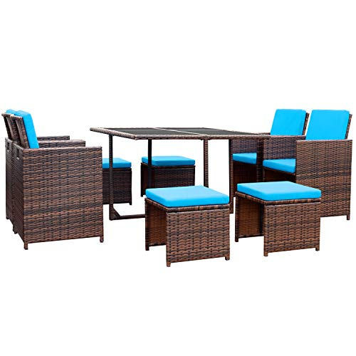 Devoko 9 Pieces Patio Dining Sets Outdoor Space Saving Rattan Chairs with Glass Table Patio Furn ...