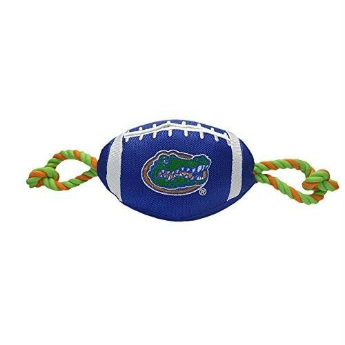 Pets First NCAA Florida Gators Football Dog Toy, Tough Quality Nylon Materials, Strong Pull Ropes, Inner Squeaker, Collegiate Team Color