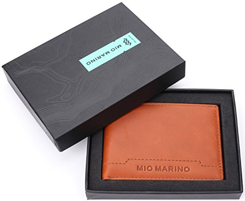 Mio Marino Wallet For Men Genuine Leather RFID Wallet Bifold Slim With ID Window In A Gift Box – Luggage