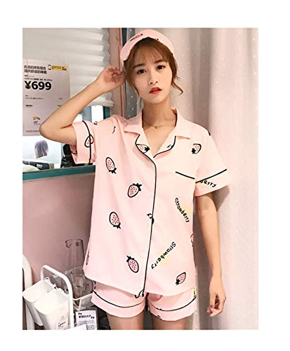 Plus Size 2018 Women Casual Cartoon Printed Short Sleeve Pajamas 3 Pieces Sets hot Shorts Tracksuit Sleepwear Loose Shirt Tops Strawberry Pink L