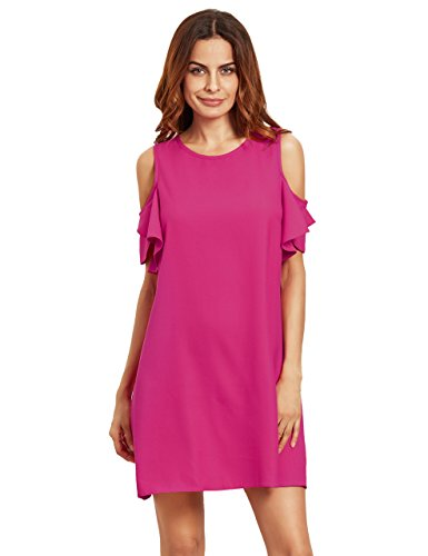 Milumia Women's Summer Cold Shoulder Ruffle Sleeves Shift Dress Rose M