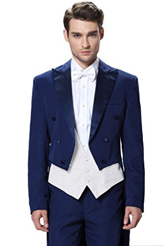 Hanayome Men's Three Piece 2015 New Wedding suit Tailcoat & Tuxedo Pants U17?White 52L?