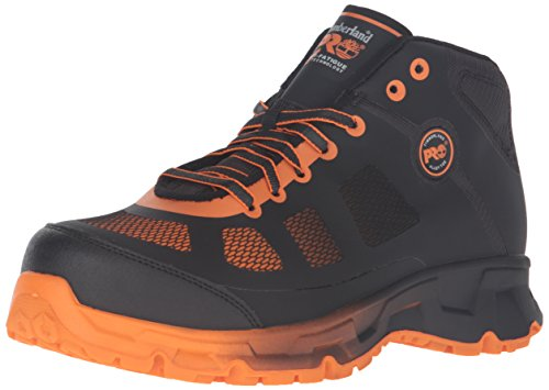 Timberland PRO Men's Velocity Alloy Safety Toe EH Mid Industrial & Construction Shoe, Black Synthetic/Orange Pops, 13 M US