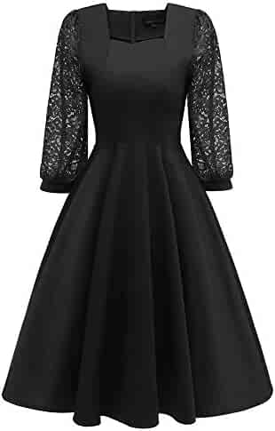 dd3e462e4ec1e HITRAS Women Vintage Long Latern Sleeve Princess Lace Cocktail Party Aline  Swing Dress