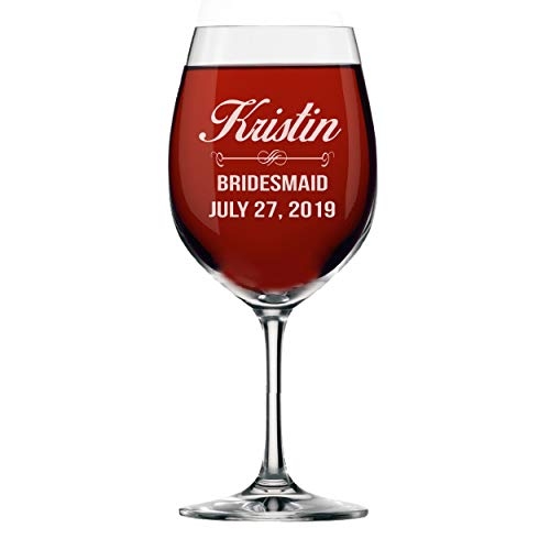(Personalized Wine Glasses - Bridesmaid Gifts, Engraved Monogrammed and Customized for Free)